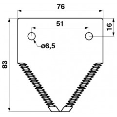 Section de lame, tranchant supérieure