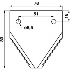 Section de lamet inférieure 676234-S Claas